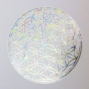 Samolepka Květ života 8 cm - stříbrná s perleťovým efektem