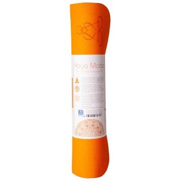 Yoga mat KVĚT ŽIVOTA, dvouvrst.TPE - oranžová/šedá
