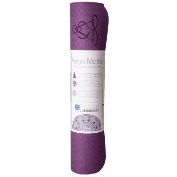 Yoga mat KVĚT ŽIVOTA, dvouvrstv. TPE - fialová/růžová