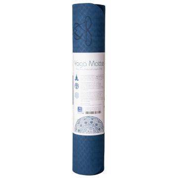 Yoga mat KVĚT ŽIVOTA, dvouvrstv. TPE - tm. modrá/sv. modrá