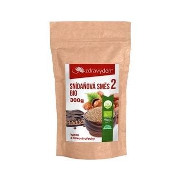 Snídaňová směs 2 Bio, lískové ořechy a karob 300 g