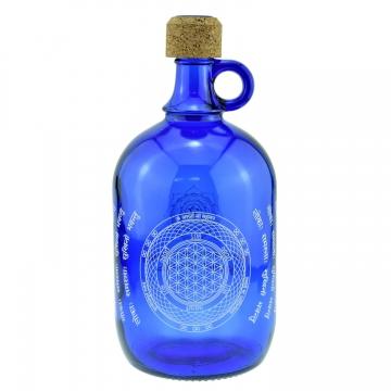Láhev na vodu DEVI kobaltově modrá - Květ života