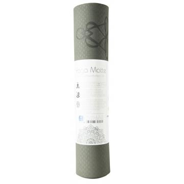 Yoga mat STROM ŽIVOTA, dvouvrstv. TPE - šedá/světle zelená