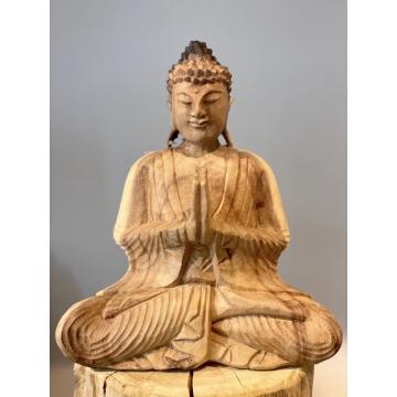 Buddha dřevěný white