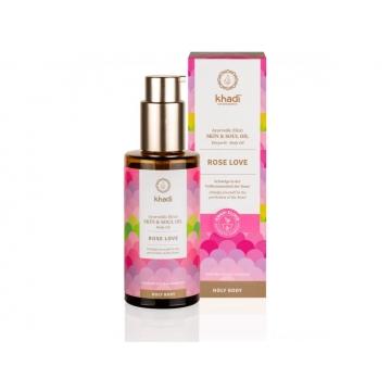 Khadi elixír olej pro pokožku a duši RŮŽE LÁSKA 100 ml